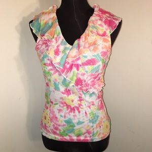 < Host Pick > CHAPS Ruffled Floral Top